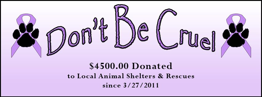 Don't Be Cruel $4,500.00 Donated to Local Animal Shelters & Rescues